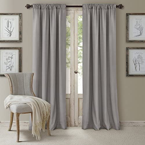 Elrene Home Cachet 3 in 1 Faux Silk 52 x95 Silver Window Interlined Panel