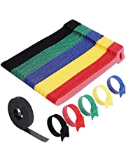 Cable Ties Reusable - H HOME-MART 50 Pack 5 Color Cable Straps Multi-Purpose Tie Wraps Fastening Straps Used for Headphones Phones Electronics PC Wire Cable Tidy Management