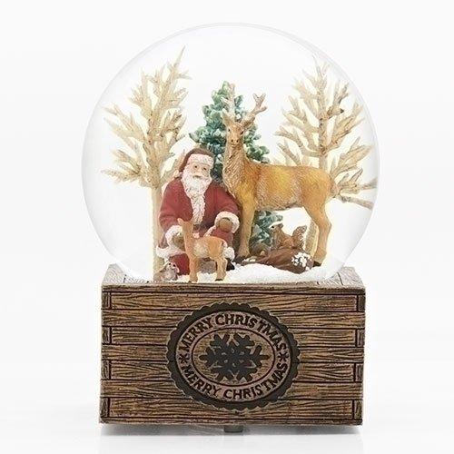 Roman MUS 8'' SANTA W/ANIMALS DOME 120MM CRATE BASE W/U
