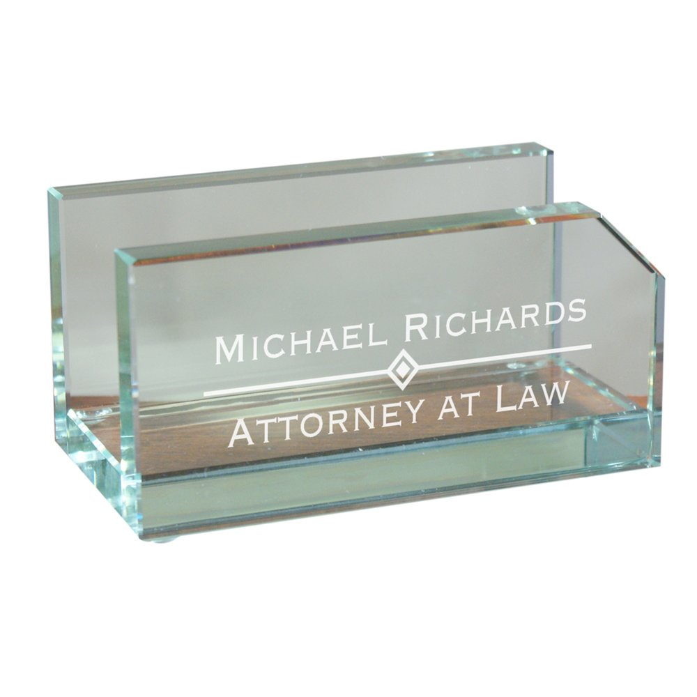 Amazon.com: Personalized Glass Business Card Holder, 2\