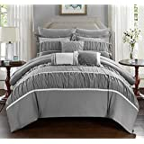 Chic Home 10-Piece Cheryl Pleated and Ruffled Bed in A Bag Comforter Set with Sheet Set, Queen, Grey