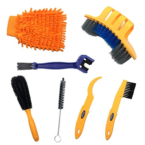 Anndason 6 Pieces Precision Bicycle Cleaning Brush Tool Suitable for Mountain, Road, City, Hybrid,BMX Bike and Folding Bike