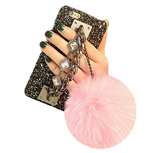 iPhone 7 case, iPhone 8 Case, Babe Mall Bling Diamond Fluffy Plush Ball Pendant Gemstone Chain Hard PC Back Case (iPhone 7 4.7