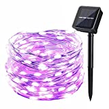 Icicle Solar Powered String Light, 26ft 120LED Flexible Copper Wire Indoor/Outdoor Waterproof Decorative Light for Patio, Path, Lawn, Garden, Balcony, Yard, Fence,Halloween Decorations(Purple)