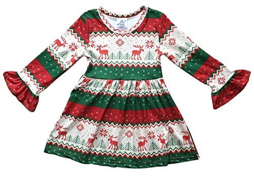 Little Girls  Long Sleeve Reindeer Snowflake Holiday Flower Girl Dress  Green 4 M (P400544P d0de4076f