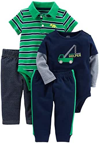 Simple Joys by Carter's Baby Boys' 4-Piece Bodysuit and Pant Set