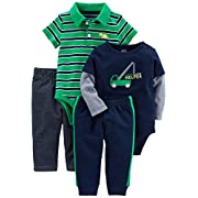 Simple Joys by Carter's Baby Boys' 4-Piece Bodysuit and Pant Set, Turquoise Polo/Navy Henley, 6-9 Months