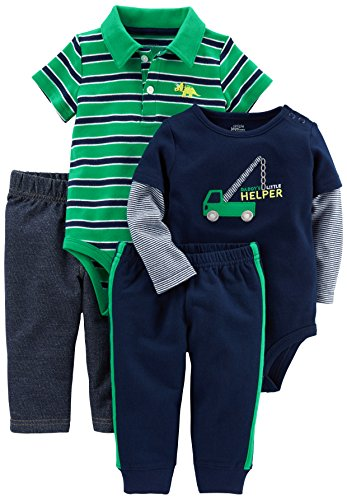 Simple Joys by Carter's Baby Boys' 4-Piece Bodysuit and Pant Set, Green Stripe/Navy Truck, 0-3 Months