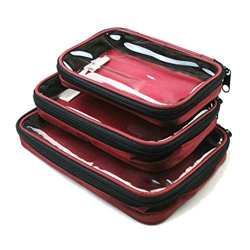 WOMHOPE Set of 3 - Travel Storage Bag Squares Makeup Bag Toi