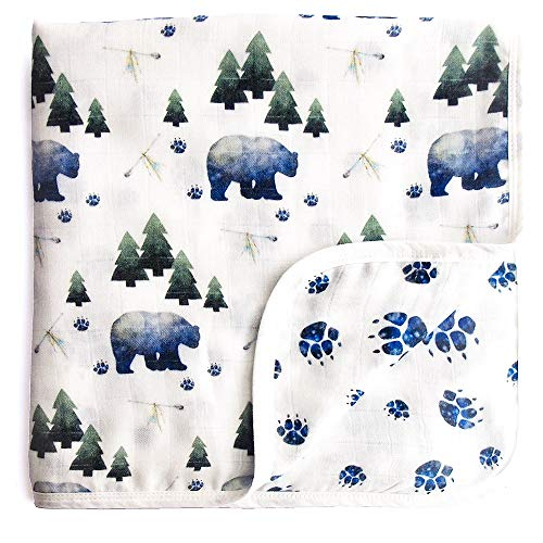 Aenne Baby Woodland Tribal Bear Double Muslin Swaddle Blanket, Large 47 x 47 inch, 1 Pack, Baby Shower Gifts, Luxurious Soft Silky Lightweight Bamboo Cotton, Wrap Nursing Stroller Cover ()