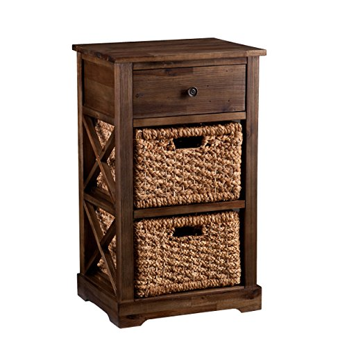 Southern Enterprises Jayton 2-Basket Storage Shelf, Brown (Wicker Drawers Small)