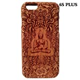 Handcrafted Cherry Wood Laser Engraving Buddha 100% Natural Wooden Case Cover Shell Skin for Iphone6s plus Wood Skin Iphone6s plus Wood Case