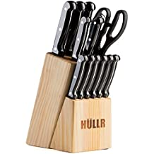 HULLR 14 Piece Kitchen Knife Set with Wooden Block, Stainless Steel Chef Knife Bread Knife Slicing Knife Utility Knife Paring Knife Steak Knives Sharpening Rod and Scissors