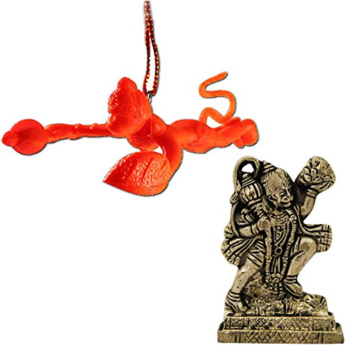 Murti Sculptures - Divya Mantra Combo Of Orange Flying Hanuman Car Mirror Hanging and Hindu God Hanuman Idol Sculpture Statue Murti