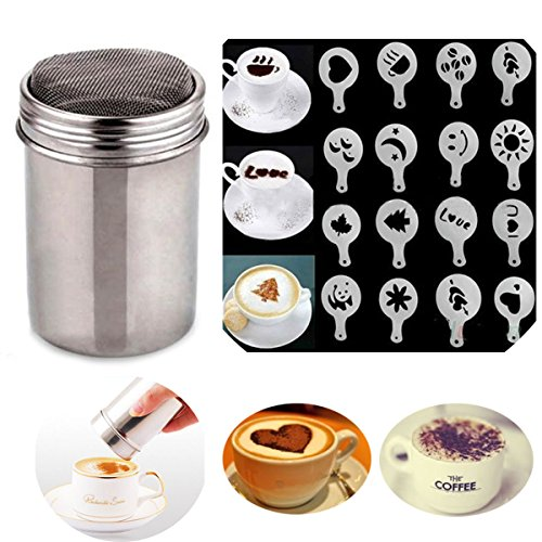 (Buytra Stainless Steel Coffee Shaker Duster Icing Sugar Powder Cocoa Flour Sifter with 16 Pieces Cappuccino Barista Coffee Art Stencils)