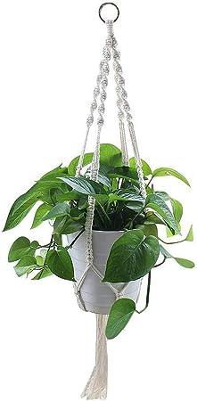 YANGMAN Perchas para Plantas de macramé, algodón Blanco Cuerda de la Puerta de algodón para macetas Decoración de jardín de casa, 4 Patas, 105 cm,1pcs: Amazon.es: Hogar