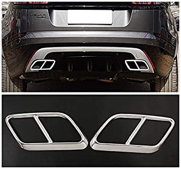 YIWANG Black Stainless Steel Exhaust Muffler Tail Tip Pipe Trim Cap Cover Frame 2Pcs For Land Rover Range Rover Velar 2017-2020 Auto Accessories