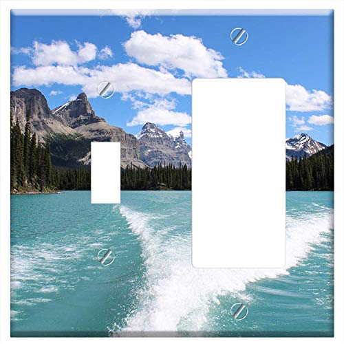 1-Toggle 1-Rocker/GFCI Combination Wall Plate Cover - Maligne Lake Glacier Wake Mountain - Valley Bow Parkway