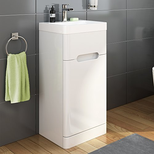 400 mm White Gloss Vanity Sink Unit Ceramic Basin Bathroom Furniture MV916 by iBathUK by iBathUK