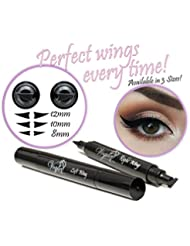 Eyeliner Stamp – WingLiner By Lovoir / Vogue Effects Black, Waterproof, Smudgeproof, Winged Long Lasting Liquid Eye Liner Pen, Vamp Style Wing, 2 Pens In A Pack (10mm Classic)