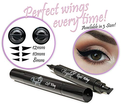 Eyeliner Stamp  WingLiner By Lovoir / Vogue Effects Black, Waterproof, Smudgeproof, Winged Long Lasting Liquid Eye Liner Pen, Vamp Style Wing, 2 Pens In A Pack (10mm Classic)