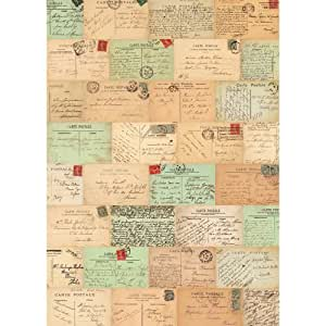 cavallini papers co papier cadeau motif cartes postales paris hogar. Black Bedroom Furniture Sets. Home Design Ideas
