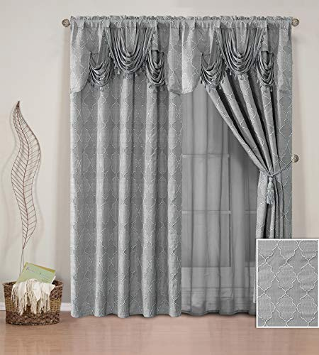 (Elegant Home Window Curtain Drapes All-in-One Set with Valance & Sheer Backing & Tassels for Living Room, Bedroom, Dining Room, and Sliding Doors - Arielle (Grey))