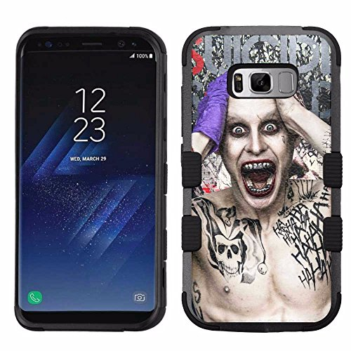 for Samsung Galaxy S8 Plus, Hard+Rubber Dual Layer Hybrid Heavy-Duty Rugged Armor Cover Case – Suicide Squad Joker #WM