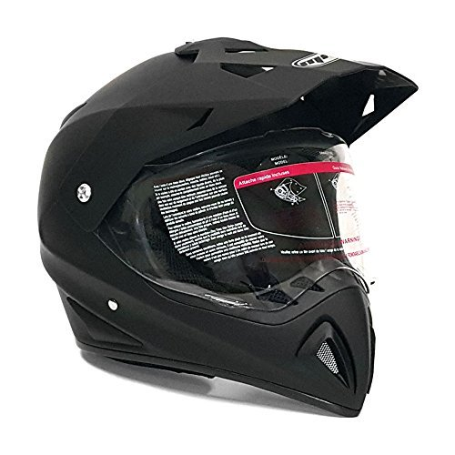 MMG 27V Motocross Full Face Helmet, Dual Sport Off Road Motorcycle Dirt Bike ATV, Includes Flip Up Visor, Medium, Matte Black (Visor Helmet With Atv)