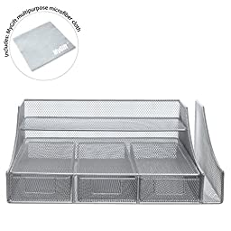 Silver Wire Mesh Metal Office Desktop Organizer / Document Tray / File Storage with 3 Drawers - MyGift