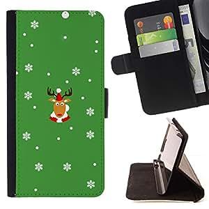 Momo Phone Case / Flip Funda de Cuero Case Cover - Rein Deer Invierno Cuernos de Navidad Copos de nieve - Sony Xperia Style T3