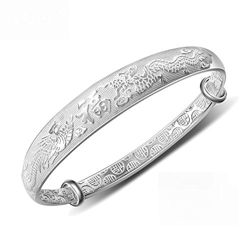 Women's 999 Sterling Silver Dragon Phoenix Carved Bangle Bracelet 27g Weight for Wedding Gift (Sterling Silver Dragon Bracelet)