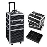 HST Professional 3 in 1 Makeup Trolley Beauty Box Cosmetic Case Makeup Suitcase Diamond Surface 3 Tier Trolley (Black)