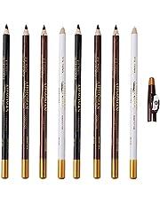 MOTINGDI 8-delige set met ingebouwde puntenslijper, kapper rand contour lijn wenkbrauw styling pen