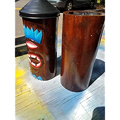 All Seas Imports Custom Blue Flame Design HANDCARVED Wood Table TOP Tiki Torches with Free Metal CANNISTERS Included! : Garden & Outdoor