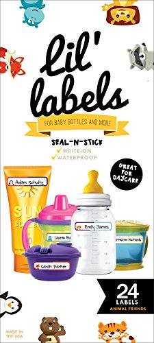 Bottle Labels, Write-On, Self-Laminating, Waterproof Kids Name Labels for Baby Bottles, Sippy Cup for Daycare School, Dishwasher Safe (Animal Friends), Made in The -
