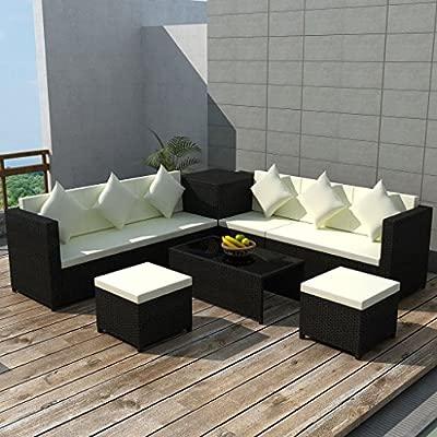 Tidyard Conjunto Muebles de Jardín de Ratán 26 Piezas con 1 ...