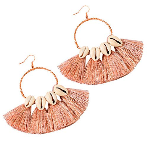 Cathy Clara Bohemian Ethnic Style Creative Golden Silk Tassel Metal Earrings Ladies Jewelry Creative Earrings Ladies Jewelry for Women Sterling Hoop Earrings ()