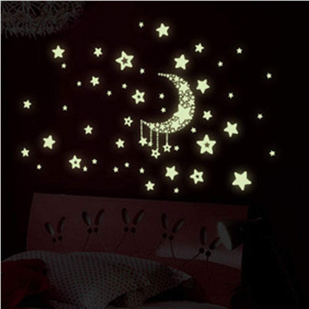 Amazon Com Waixingren Fluorescent Luminous Stickers Star Wall Stickers Room Living Room Romantic Bedroom Roof Ceiling Decoration Small Moon Stars Home Kitchen