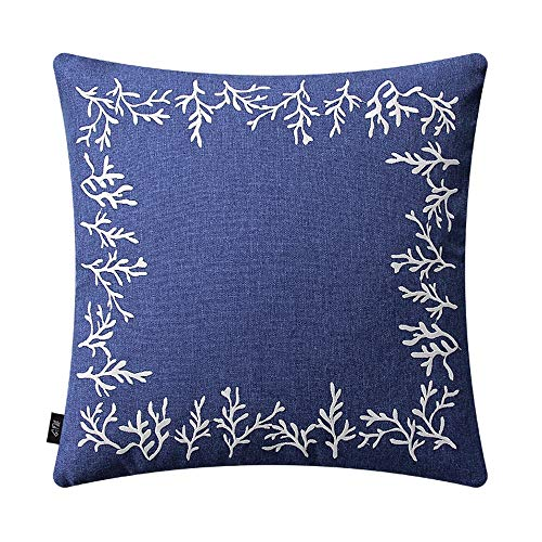 TZY Cushion Pillow Mediterranean Sofa Pillowcase Without core Blue Simple Modern Embroidery Flower Simple American Back Cushion (Edition : A) (Best Sleeping Position For Asthma Patients)