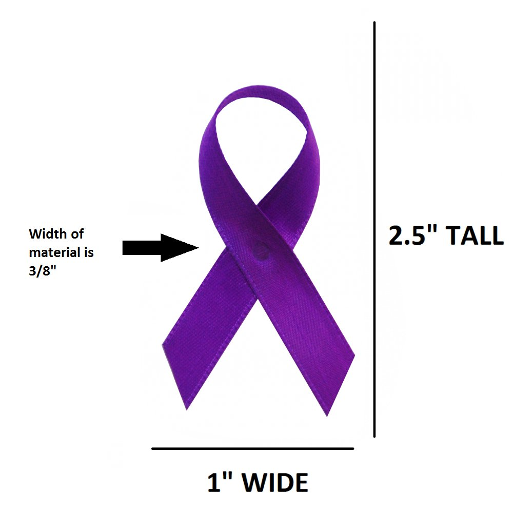 250 USA Made Purple Satin Awareness Ribbons - Bag of 250 Fabric Ribbons with Safety Pins (Many Colors Available)