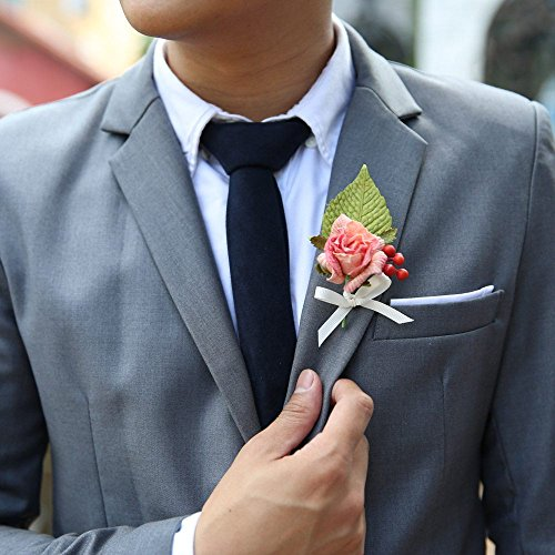 [2x GROOM CORSAGE MULBERRY PAPER WEDDING FLOWERS GROOMSMEN BOUTONNIERE (Peach)] (Gorilla Holding Man Costume)