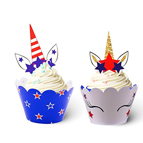 24 Pack Unicorn Cupcake Toppers Wrappers for Birthday Party Supplies, Unicorn Horn Cake Decoration for Kids Party, Baby Shower