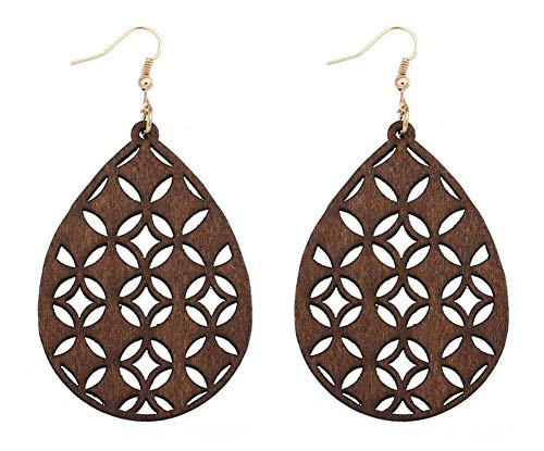 - stylesilove Women Lightweight Bohemian Wooden Teardrop Cut-Out Dangle Earrings (Brown)