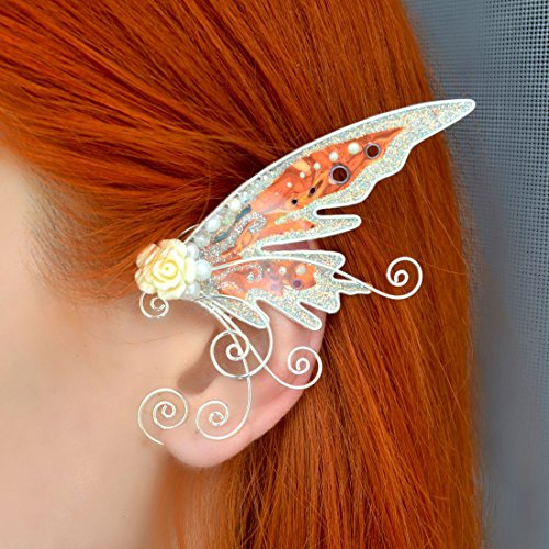 (Elf Ear Cuff Wraps Pair Fantasy Costume Ear Cuffs, Handmade Gifts, Creative Gift Ideas, Gifts for Girlfriend, Ear Cuffs for Non Pierced Ears White Rainbow Wings Butterfly)