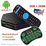 (Mega1Comp Exclusive) T95Z Plus Android 7.1 TV BOX Amlogic S912 Octa Core 3GB/32GB Dual Band Wifi 2.4GHz/5.0GHz 4K HD TV BOX with Backlit Mini Wireless Keyboard