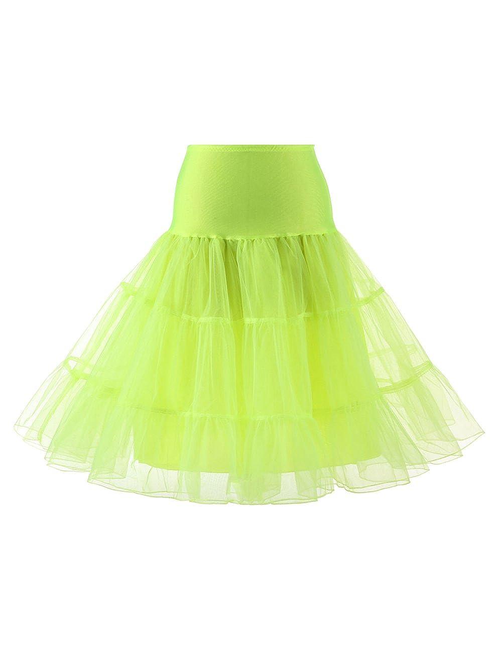 VKStar Kurz Elastische Taille Petticoat Krinoline Unterrock Reifrock für Kleider FX111-Apple Green