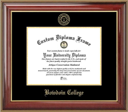 (Laminated Visuals Bowdoin College Polar Bears - Embossed Seal - Mahogany Gold Trim - Diploma Frame)
