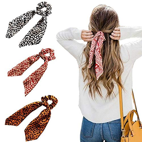 Beauty Wig World 3 Pcs Silk Scrunchies Leopard Hair Scarf Ponytail Holder Elastic Hair Bands Scrunchy Ties Hair Accessories for Women Girls
