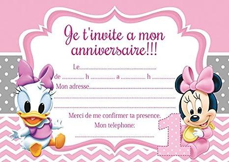 10 cartes invitation anniversaire minnie mickey mouse avec des